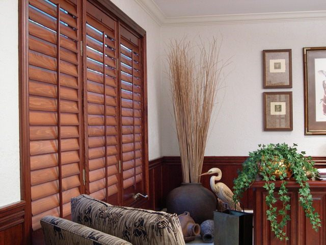 Home Office with Stained Plantation Shutters modern-home-office