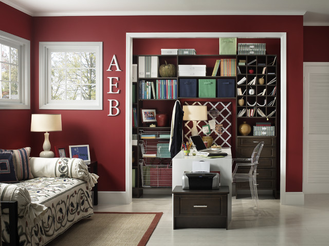 example of a classic freestanding desk home office design in cincinnati with red walls - Den Design Ideas