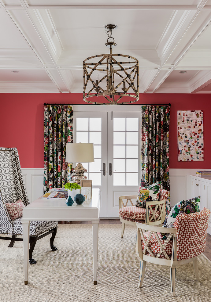Inspiration for a coastal freestanding desk home office remodel in Boston with red walls