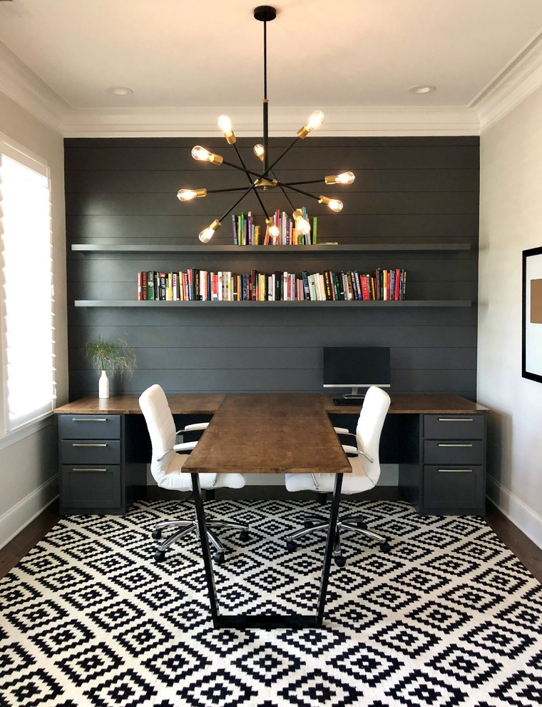 Mid-sized trendy home office photo in Charlotte