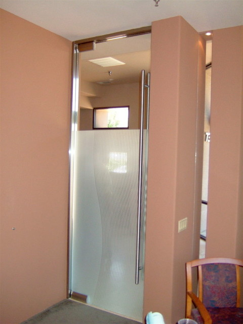 Interior Gl Doors With Obscure Frosted Divise Stripescontemporary Home Office