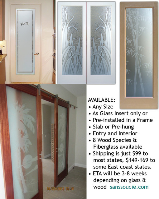 Interior Glass Doors With Obscure Frosted Tropical Home Office Other By Sans Soucie Art