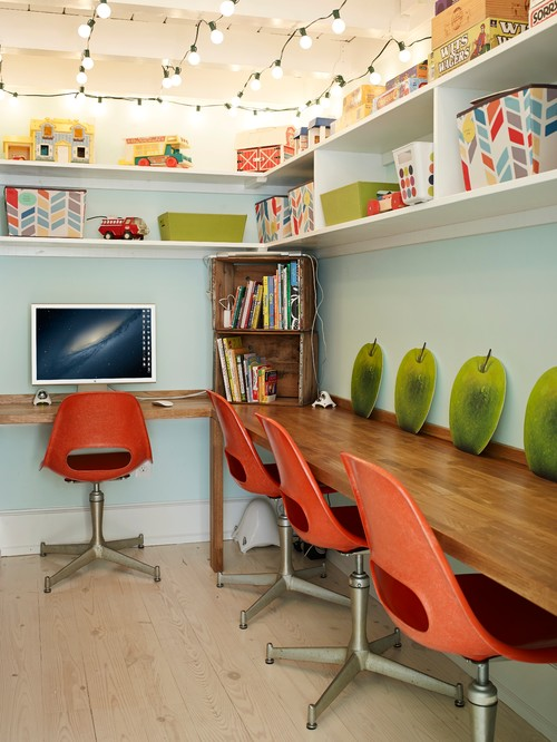 eclectic home office Back to School Home Organizing Tips