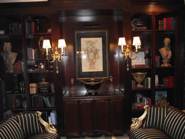 Home Library in Black and Gold Traditional Home Office