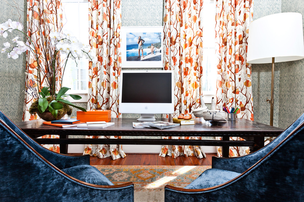 Example of an eclectic freestanding desk medium tone wood floor home office design in Charleston