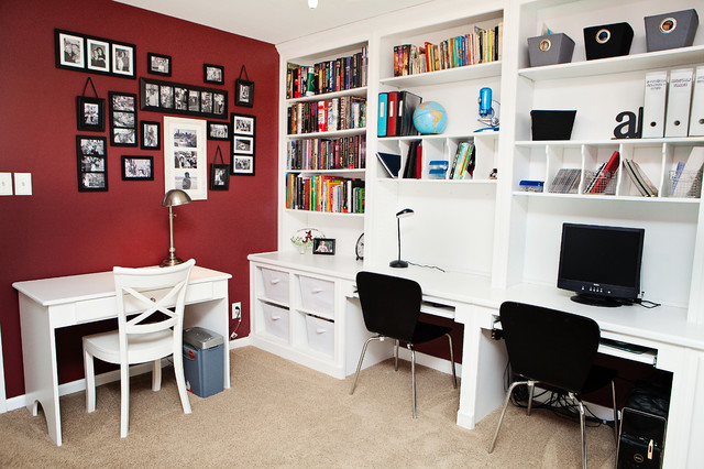 Office accent wall houzz inspiration for a mid sized transitional built in desk carpeted and brown floor home sciox Choice Image