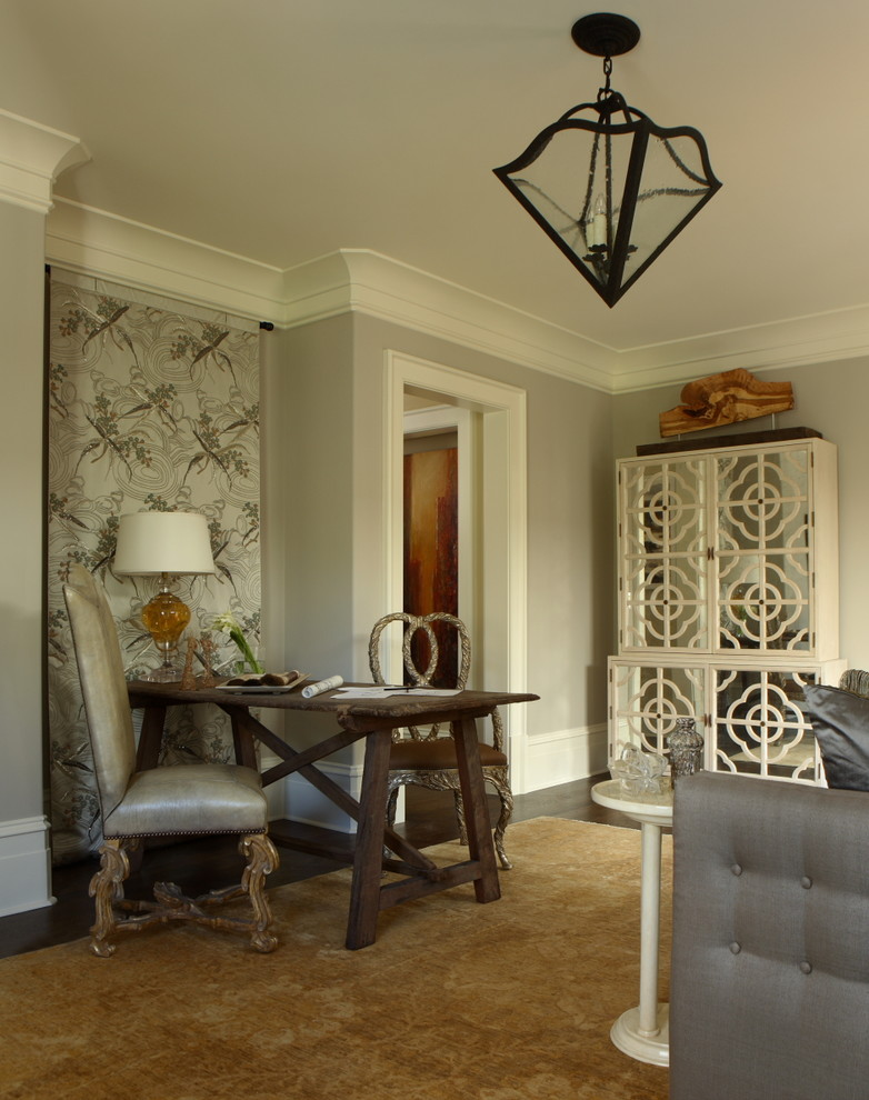 Inspiration for a timeless freestanding desk dark wood floor home office remodel in Atlanta with gray walls