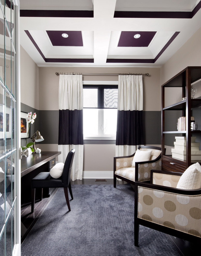 Example of a transitional freestanding desk dark wood floor home office design in Toronto with gray walls