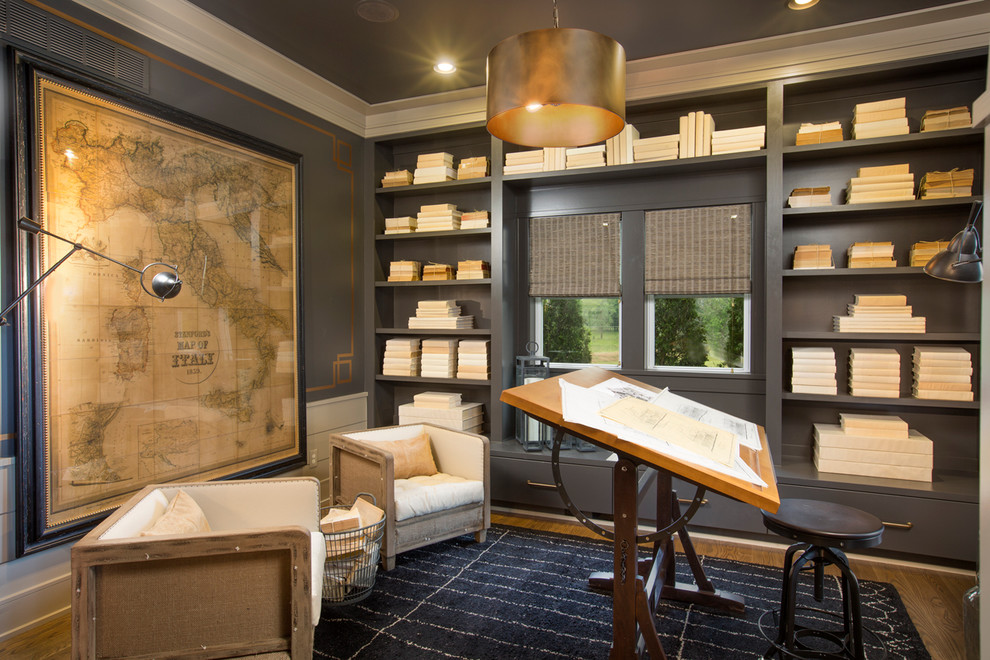 Mid-sized transitional freestanding desk medium tone wood floor home office photo in Columbus with gray walls