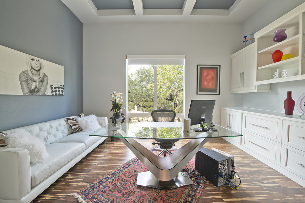 Home office - transitional home office idea in Austin