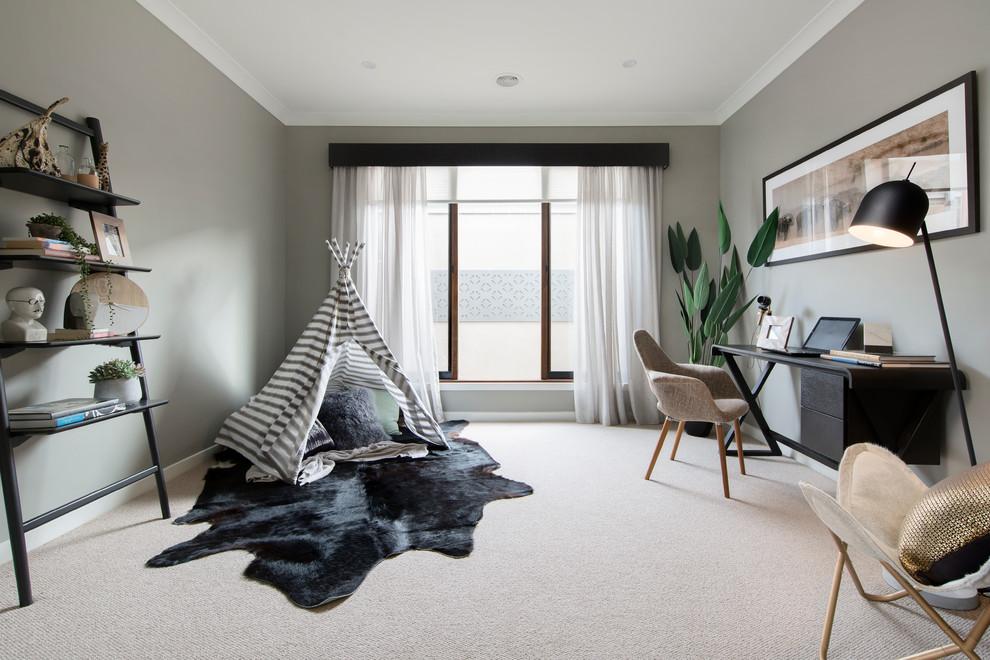 Study room - scandinavian freestanding desk carpeted and beige floor study room idea in Melbourne with gray walls