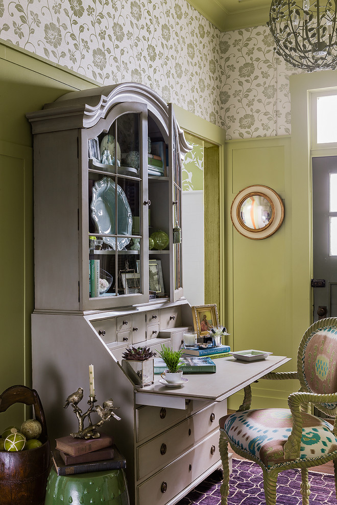 Inspiration for a small timeless freestanding desk home office remodel in Boston with green walls