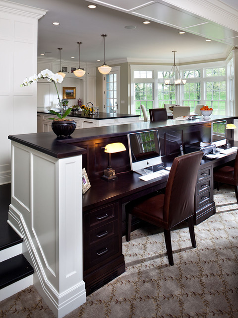 Kids Desk In Family Room Traditional Home Office