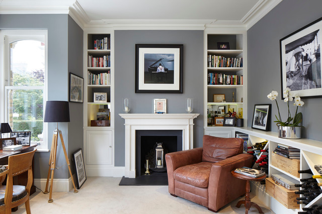 Example Of A Classic Carpeted Home Office Design In London With Gray Walls  And A Standard