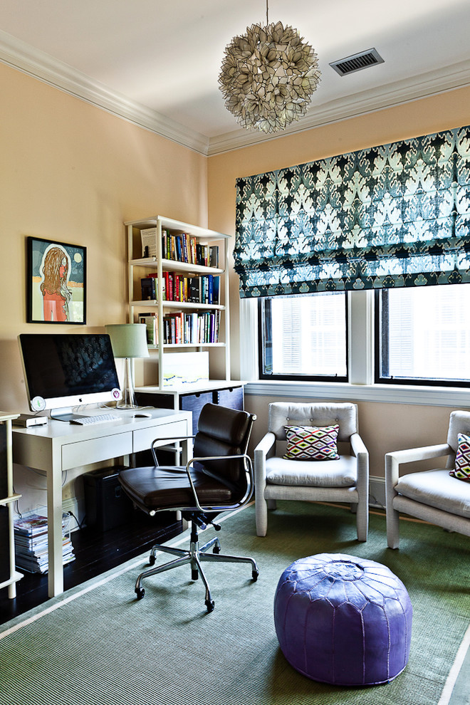 Home office - eclectic home office idea in Charleston with yellow walls