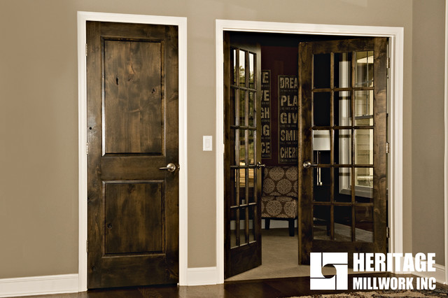 Knotty Alder Stained Dark with White Trim - Home Office - Minneapolis - by Heritage Millwork Inc