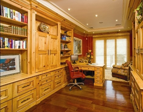 Knotty Pine Home Office - Traditional - Home Office - other metro - by Superior Woodcraft, Inc.