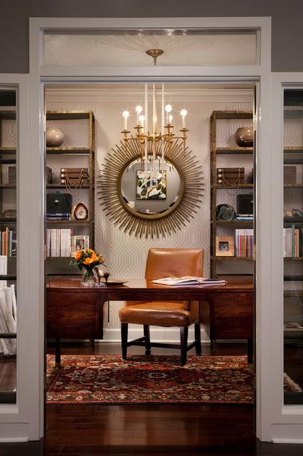eclectic design home office. Inspiration For An Eclectic Freestanding Desk Dark Wood Floor Home Office  Remodel In Atlanta Design