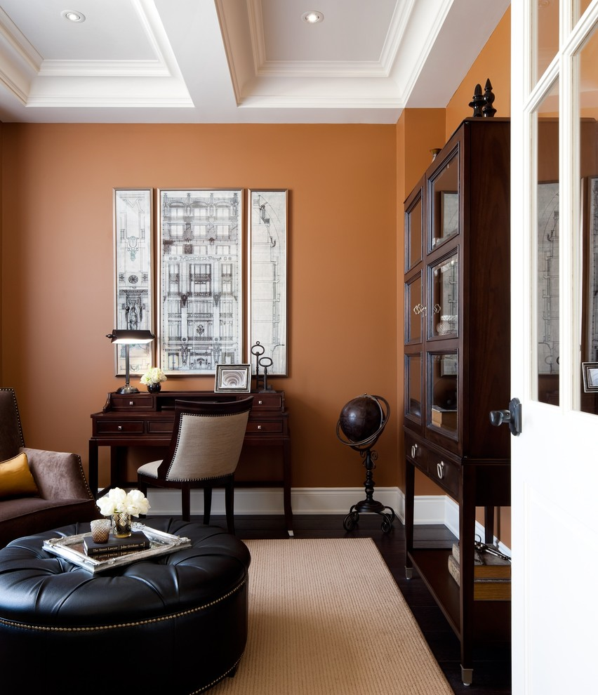 Home office - transitional home office idea in Toronto with orange walls