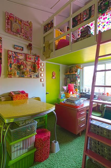 LA 70s eclectic-home-office