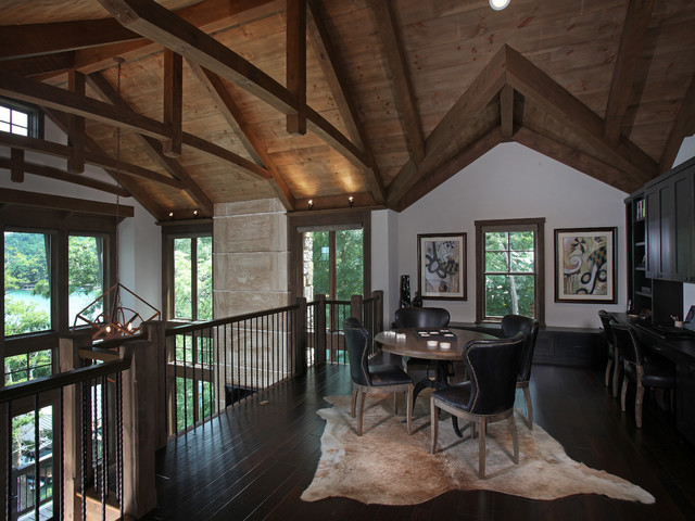 Lake Bluff Lodge Completed Rustic Home Office Atlanta