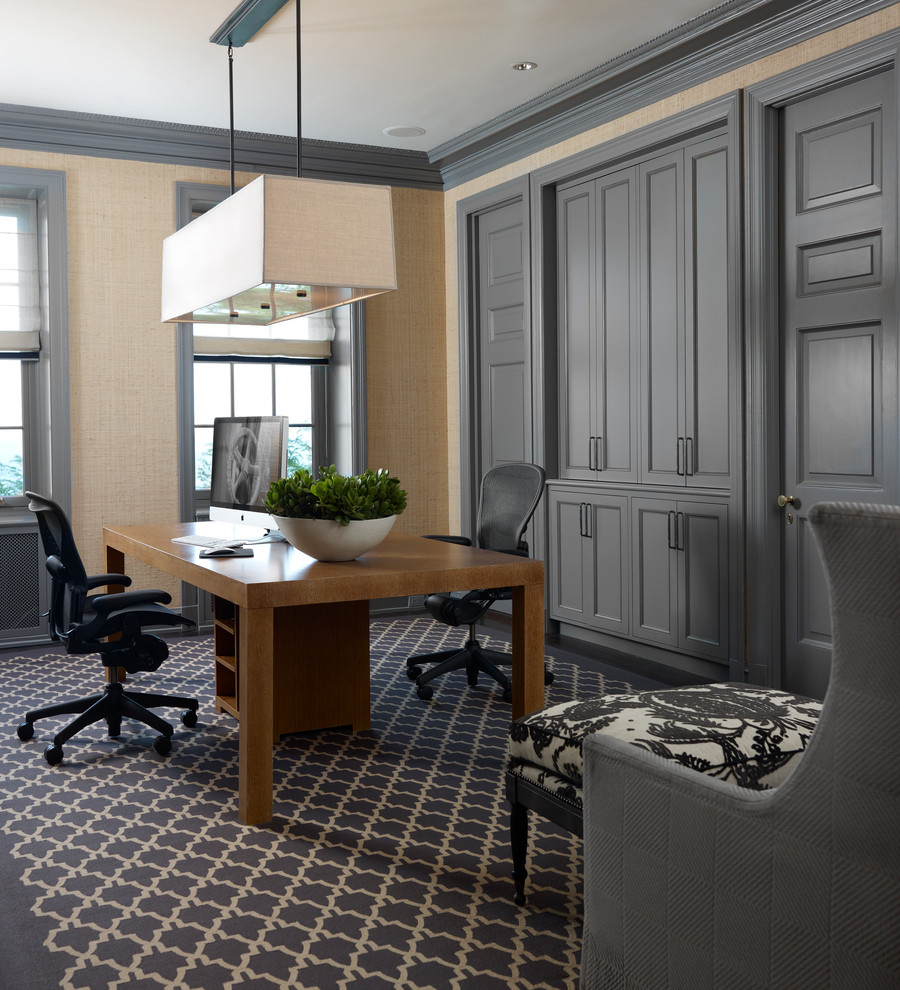 Inspiration for a timeless home office remodel in Chicago with gray walls