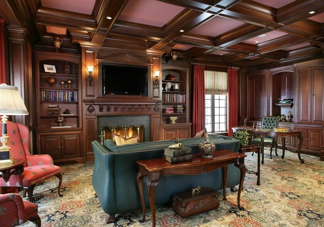 Large elegant study traditional home office new york for Large home office