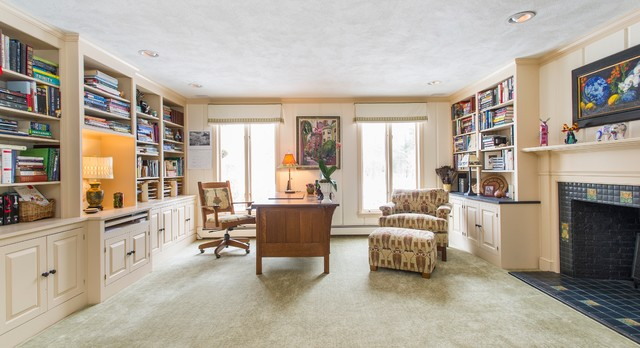 Library home office in arts and crafts style craftsman for Craftsman style office