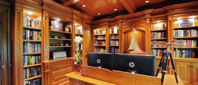 Delightful Library/Home Office Renovation American Traditional Home Office