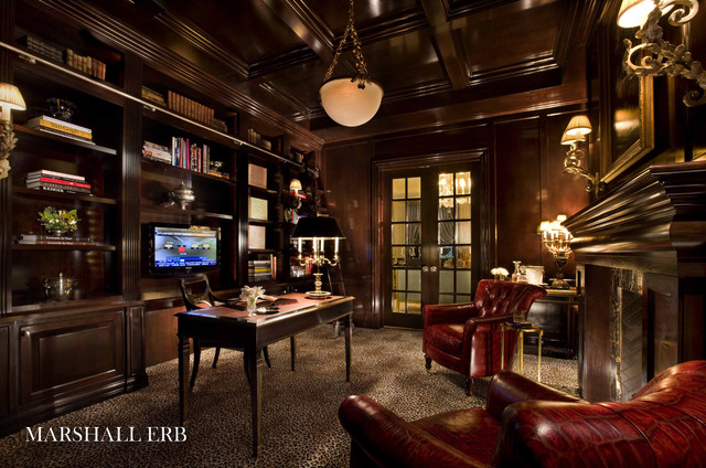 Library traditional home office chicago by marshall erb design inc Traditional home library design ideas