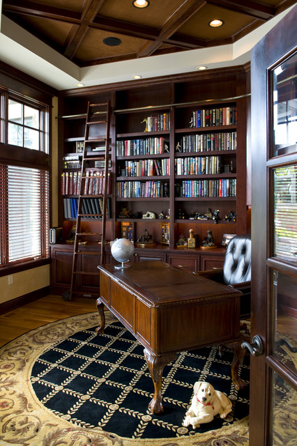 Library office traditional home office minneapolis for Custom home library design