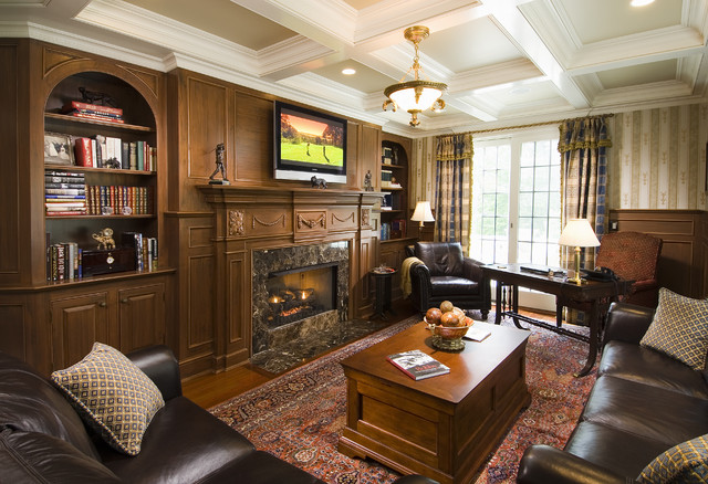 Library traditional home office bridgeport by sara