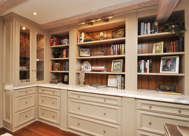 Library shelves and built in storage traditional home office los angeles by sara balough - Inbuilt bookshelves ...