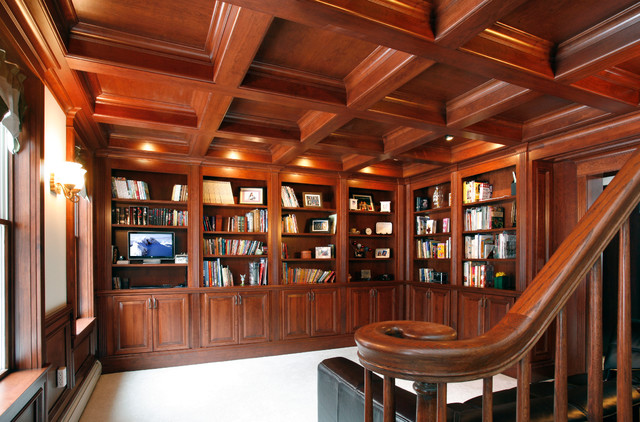 Library with coffered ceiling - Traditional - Home Office ...