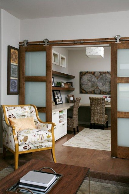 Living room modern home office other metro by for Barn doors for home office