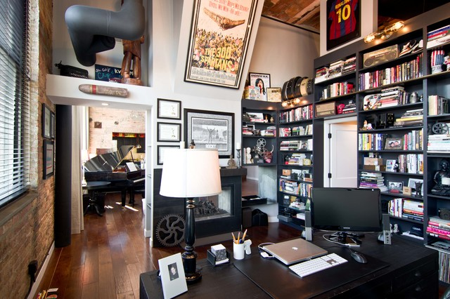 loft condo renovation industrial home office chicago home office