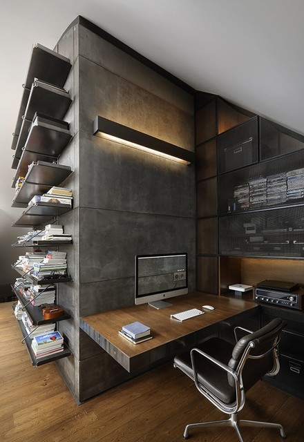 loft style office. Loft Design, Style In The Interior Industrial-home-office Office R