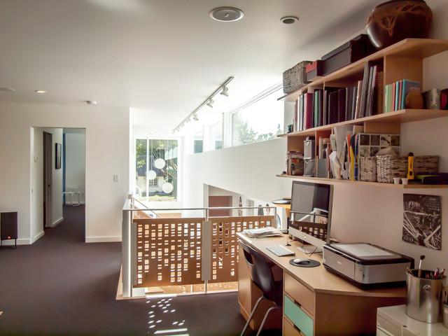 loft area loft office light over stairs third floor custom library