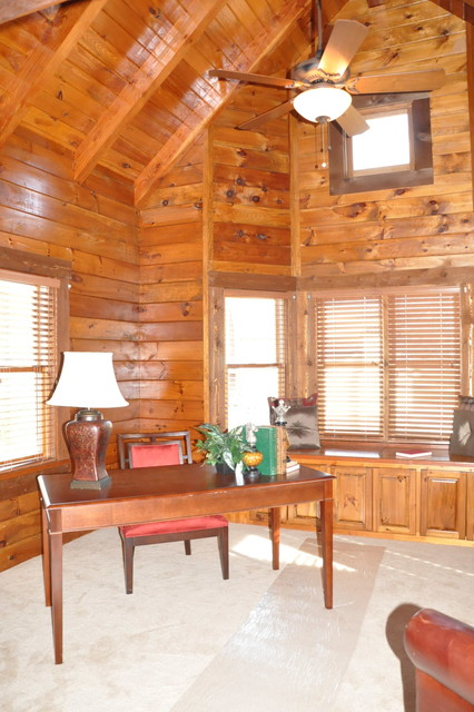 Log Home Office : Log cabin renovation rustic home office
