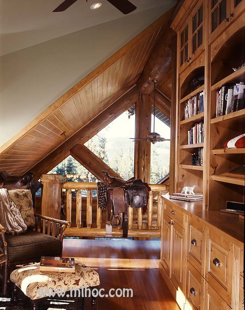 Log Home Office : Log home living magazine feature rustic