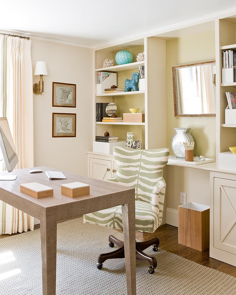 Inspiration for a coastal freestanding desk dark wood floor home office remodel in Boston with beige walls