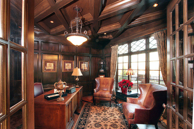 design luxury model home traditional home office cincinnati by studer - Luxury Home Office Design