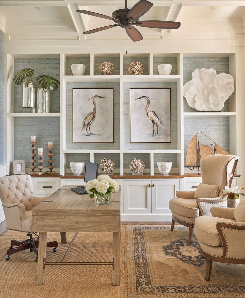 Example of a beach style home office design in Atlanta