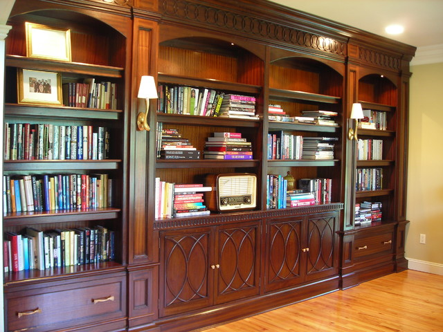 Mahogany Library Cabinetry With Carved Mouldingstraditional Home Office New York