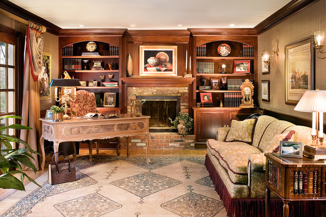 Mahogany Library- Home Office-Peter Rymwid Photography traditional-home-office