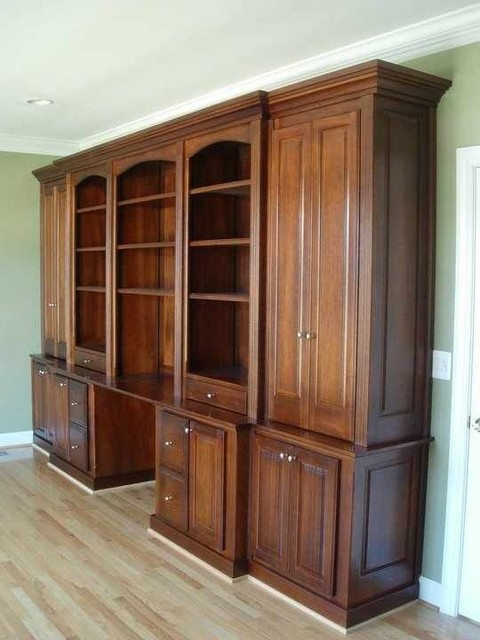 Mahogany Office Built in Furniture Traditional Home Dc