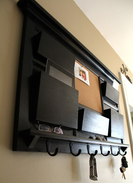 Mail Organizer Cork Board with Key Hooks - Contemporary - Home Office ...