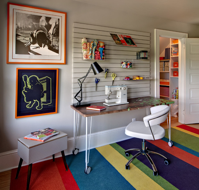 Amazing Main Sewing And Wrapping Work Zone With Slat Wall System  Contemporary Home Office