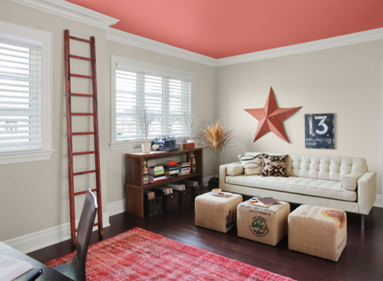 Make Your Accent Wall The Ceiling Beach Style Home Office M