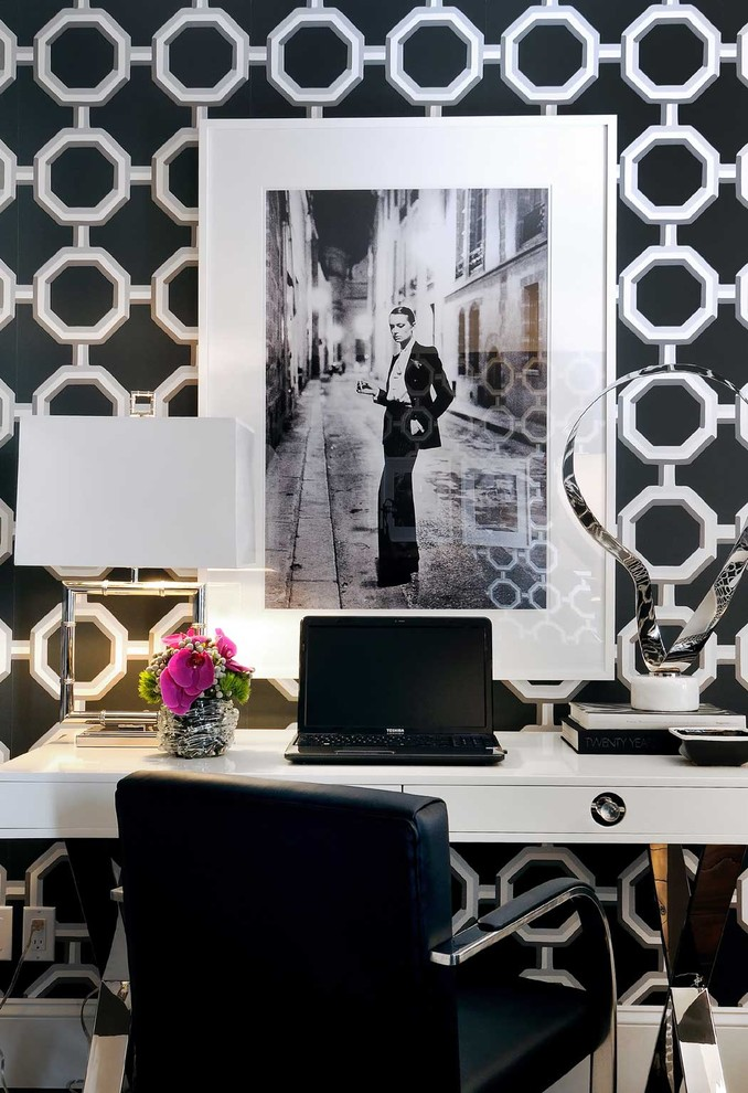 Home office - contemporary home office idea in Other with multicolored walls